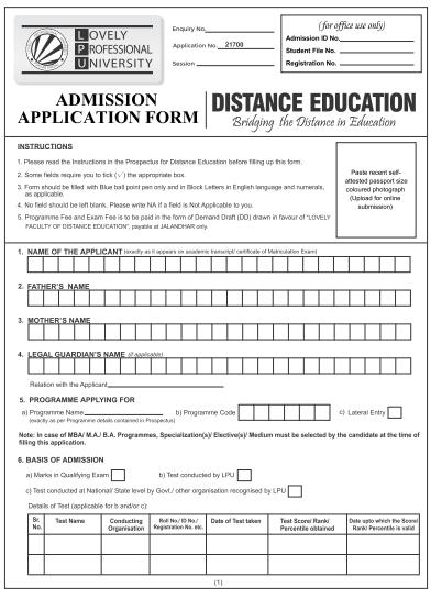 LPU Distance MBA Application Form