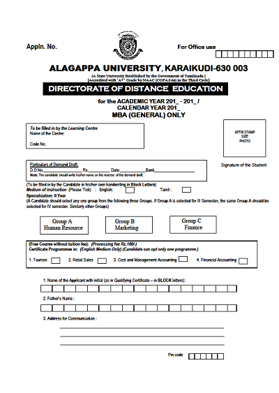 Alagappa University Distance Education Fee Structure